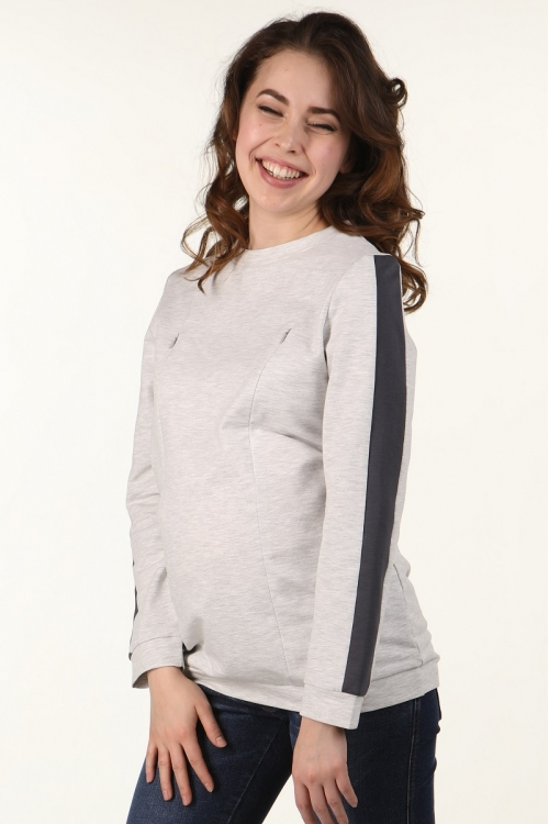 2-НМ 43914 Джемпер для беременных и кормящих серый светло-серый меланж