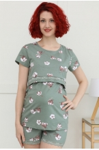 П20504К Пижама для беременных и кормящих женщин фисташковый/белый