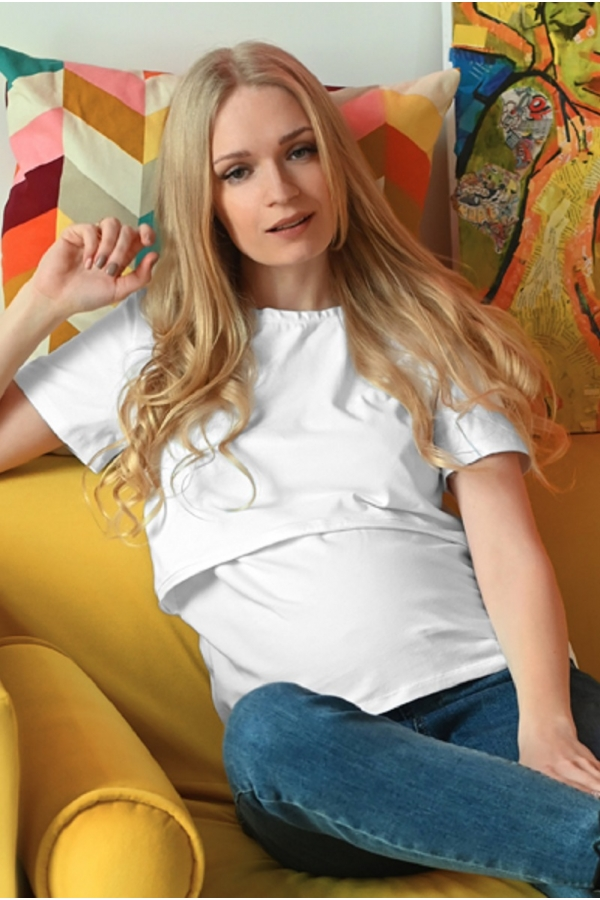 7ПТ206-31102 Футболка для беременных и кормящих белый