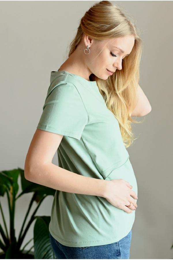 7ПТ206-31102 Футболка для беременных и кормящих серо-зеленый