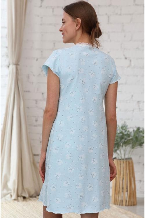 1-НМП 20801 Сорочка для беременных и кормящих мам голубой/белый