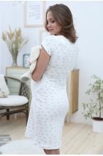 2-ФП 23503 Сорочка женская для беременных и кормящих молочный/серый