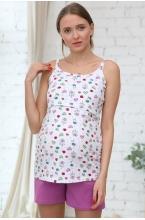 1-НМП 25228 Пижама женская для беременных и кормящих белый/сиреневый