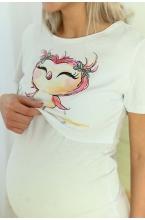 1-НМП 26820 Пижама женская для беременных и кормящих мам белый/розовый меланж