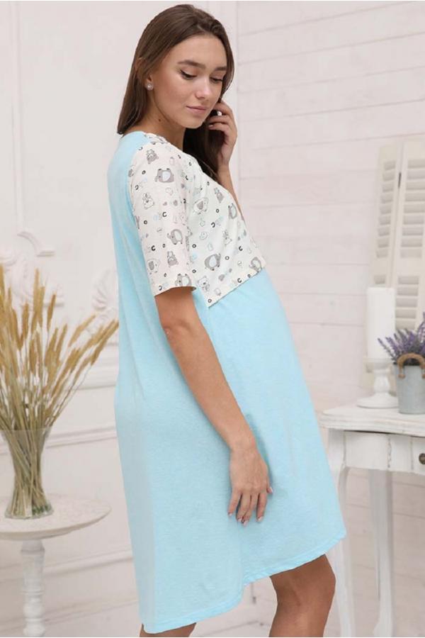 1-НМП 30501 Сорочка для беременных и кормящих молочный-бирюзовый меланж