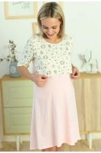 1-НМП 30501 Сорочка для беременных и кормящих молочный-розовый