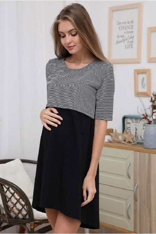 1-НМП 30502 Сорочка для беременных и кормящих черный