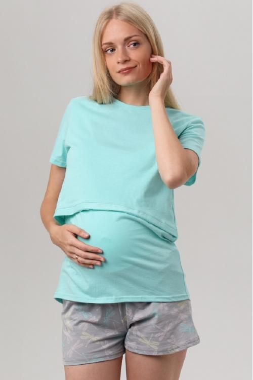 7ЕМ2307-51131 Пижама для беременных и кормящих женщин мятный/серый