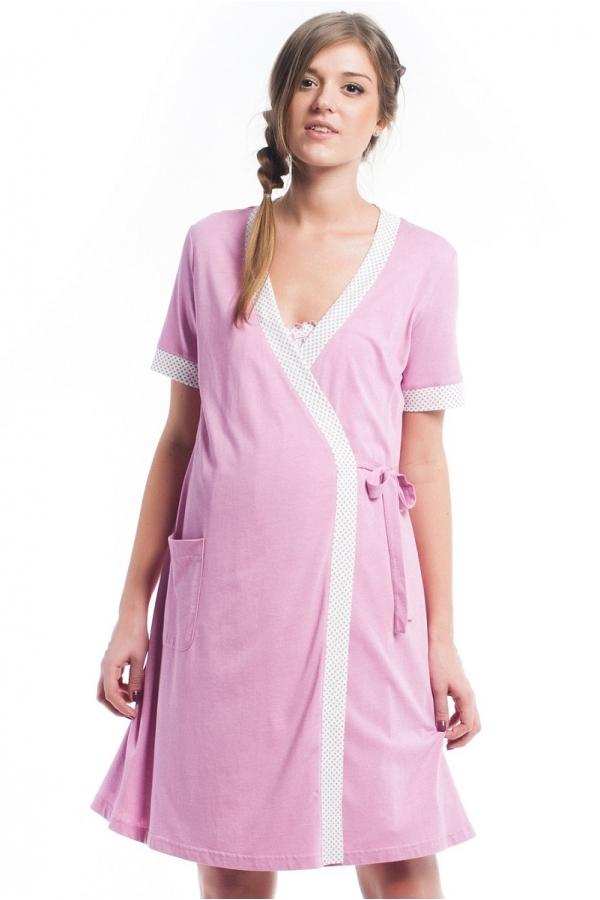 426605.7428 Комплект для роддома (халат+ночная сорочка) розово-малиновый/принт