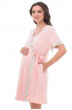 441613.7468 Комплект для роддома (халат+сорочка)  бело-розовый+розовый