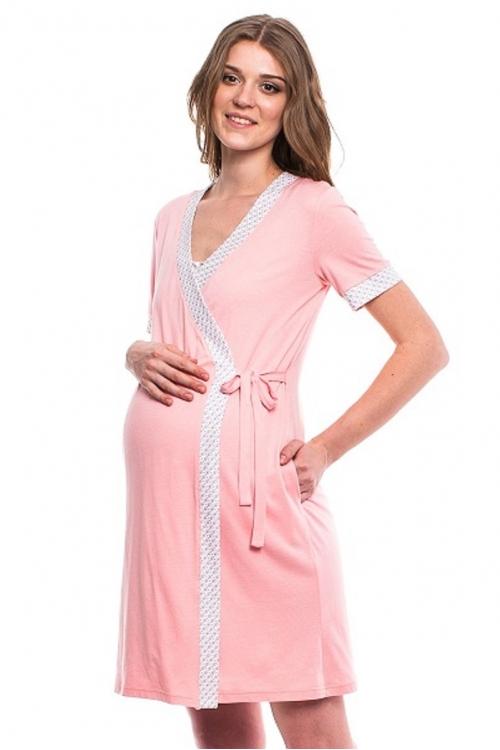 441613.7443 Комплект для роддома (халат+ночная сорочка) принт бело-розовый