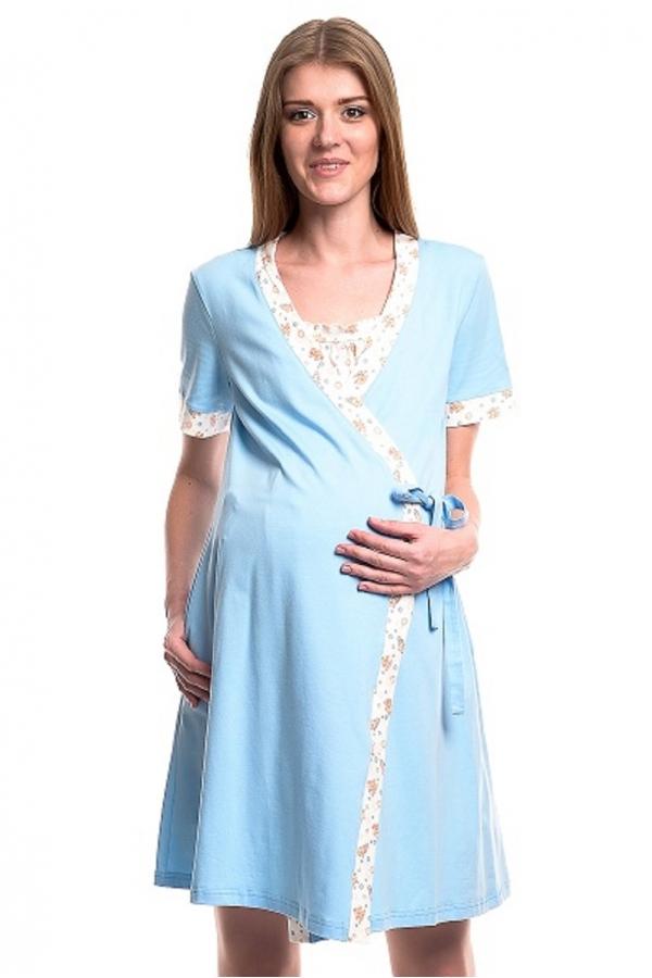 441613.7454Д Комплект для роддома (халат+ночная сорочка) голубой принт+голубой