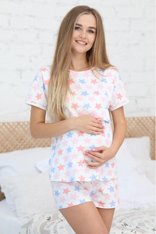 П 46505К Комплект женский для беременных и кормящих розовый/белый/синий