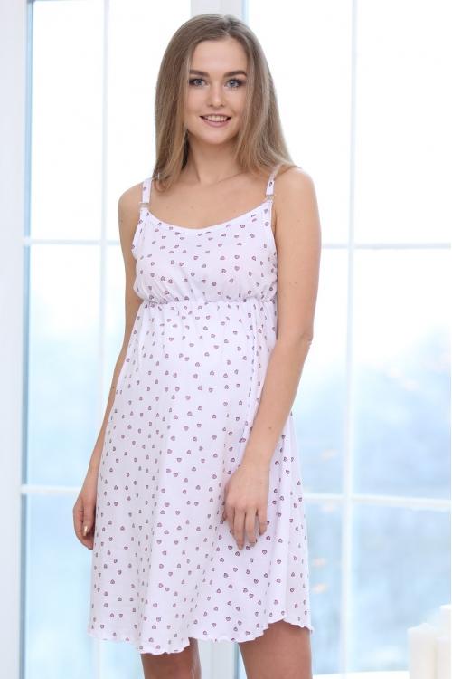 П47504 Сорочка женская для беременных и кормящих белый/розовый/черный