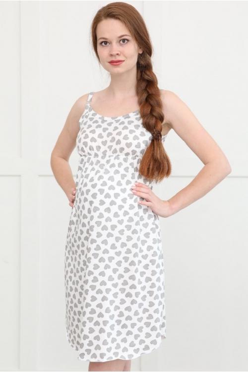 П47504 Сорочка женская для беременных и кормящих белый/серый