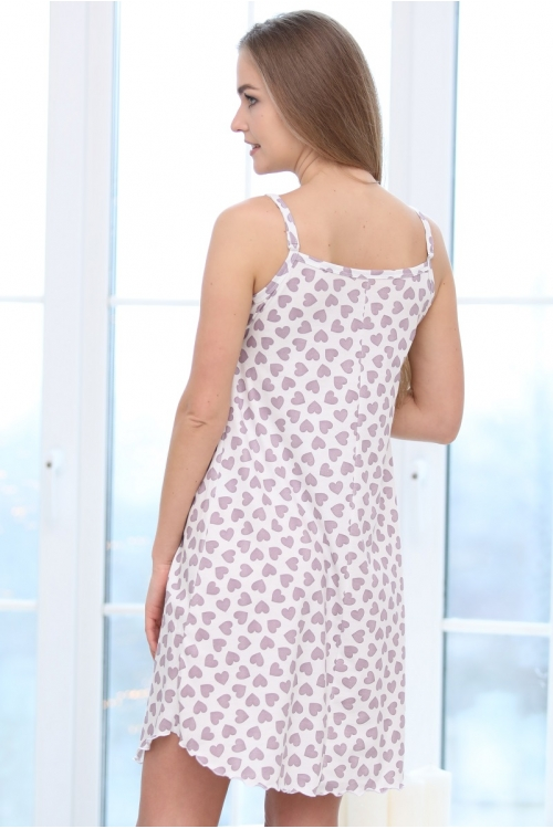 П47504 Сорочка женская для беременных и кормящих молочный /лиловый