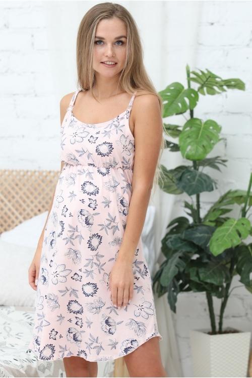 П47504 Сорочка для беременных и кормящих женщин розовый/белый/синий