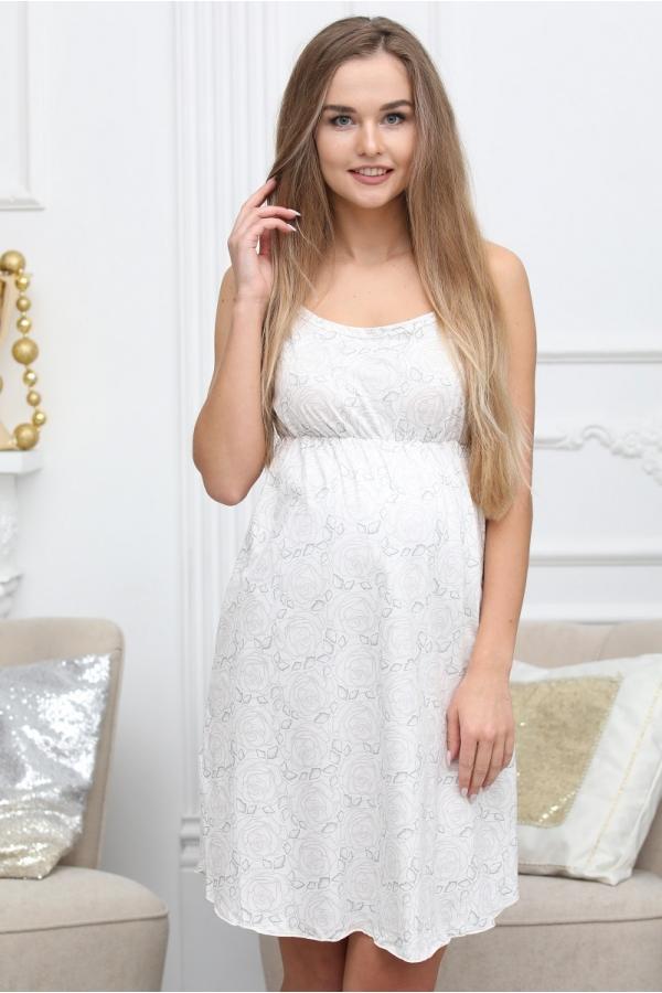 П47504 Сорочка женская для беременных и кормящих серый/молочный