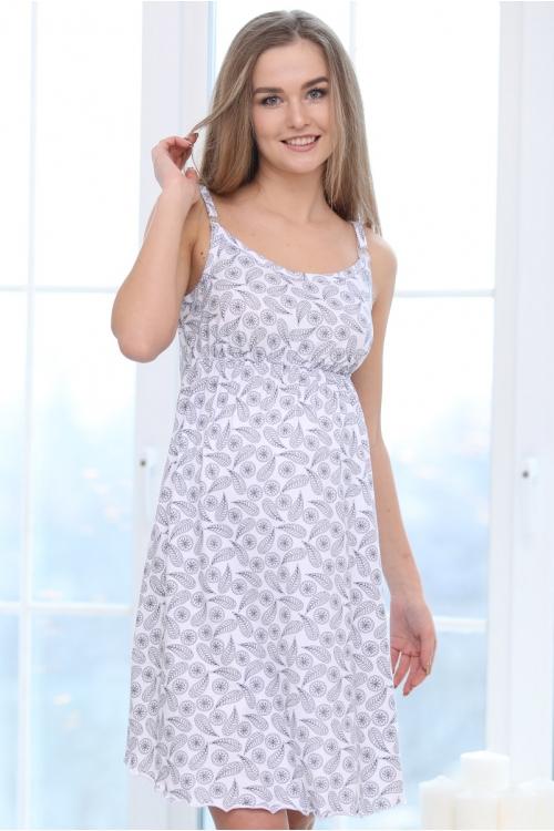 П47504 Сорочка женская для беременных и кормящих белый/синий
