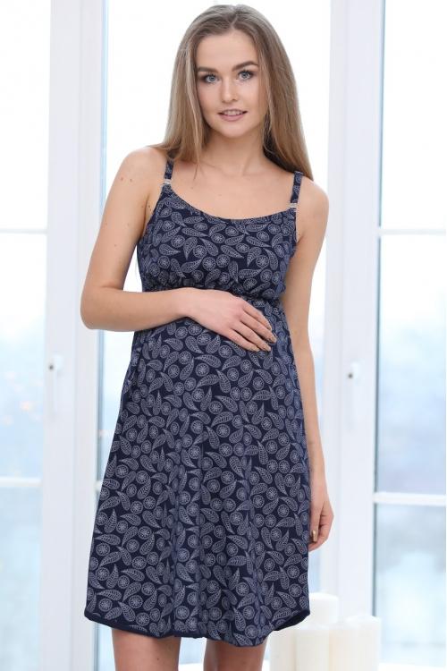 П47504 Сорочка женская для беременных и кормящих синий/белый