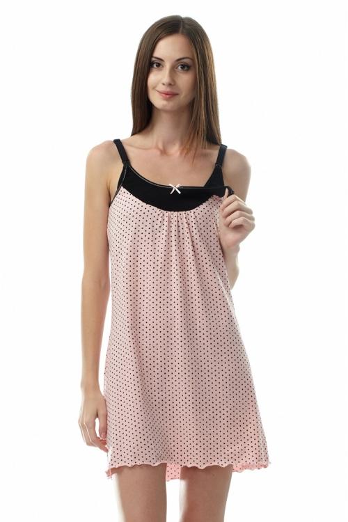 502.7409 Ночная сорочка для кормления розовый в горошек