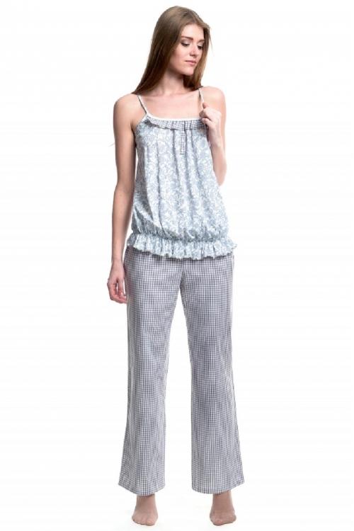 509.3338Д Пижама для кормления (топ+брюки) флора бело-голубой