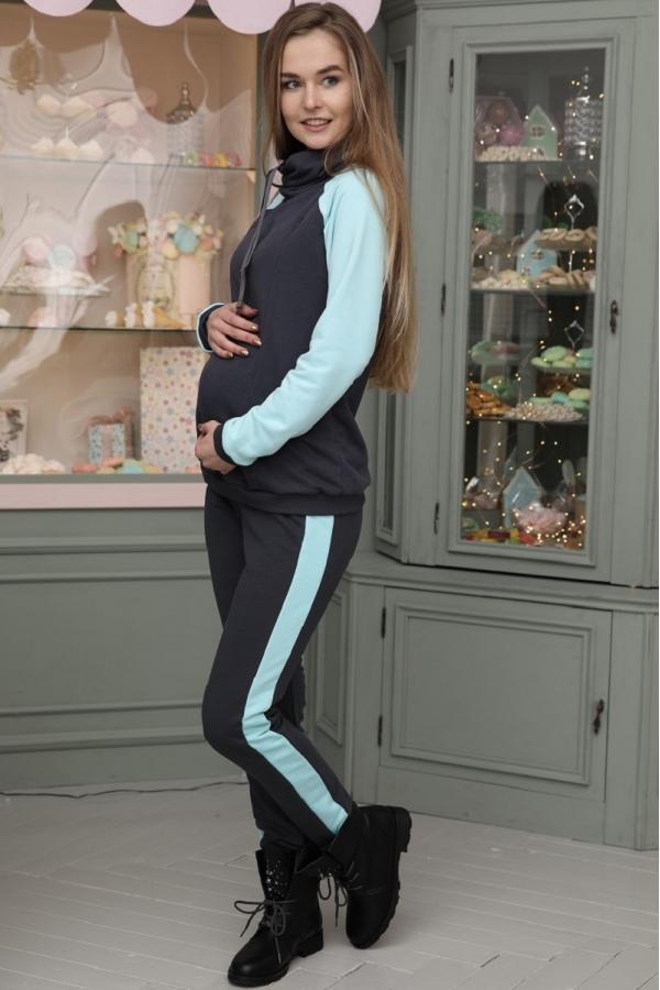 2-73505К Костюм утеплённый для беременных и кормящих графит-мятный