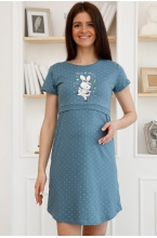 П84504 Сорочка для беременных и кормящих серо-зеленый