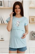 П86504 Комплект для беременных и кормящих бирюзовый/серый