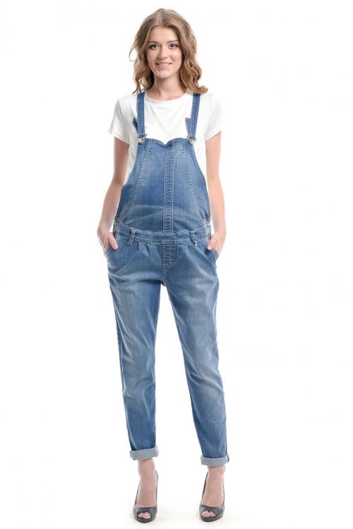 1041.1064 Комбинезон джинсовый зауженного силуэта синий