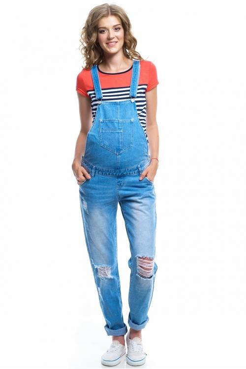 """1044.1024 Полукомбинезон джинсовый силуэта """"boyfriend"""" голубой"""