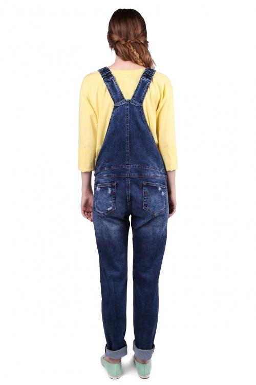 1050.0035 Полукомбинезон джинсовый прямого силуэта с молниями