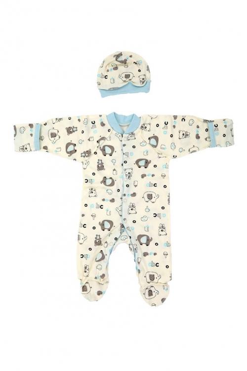 КДС 2/1 Комплект детский стерильный (комбинезон,шапочка) молочный/светло-голубой