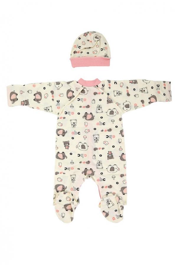 КДС 2/1 Комплект детский стерильный (комбинезон,шапочка) молочный/светло-розовый