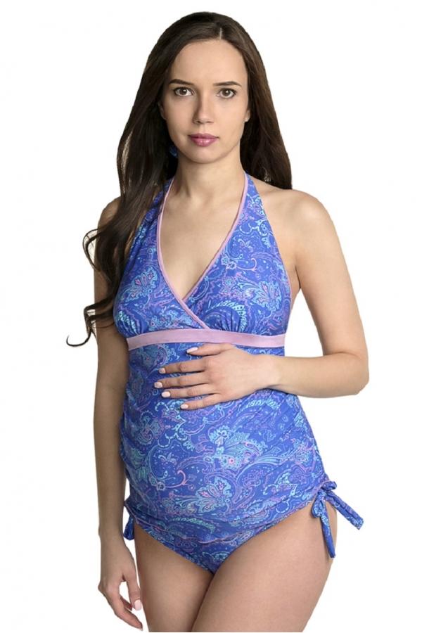 08101 Купальный костюм для беременных из 2-ух предметов синий/голубой/розовый