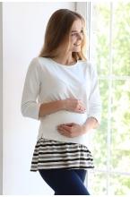 1-229505В Джемпер свободного кроя с оборками для беременных молочный/принт