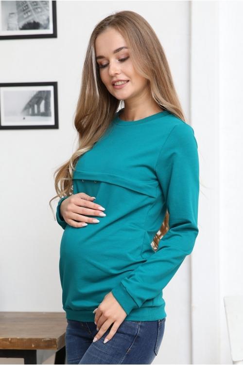 1-25505Е Джемпер женский для беременных и кормящих изумрудный