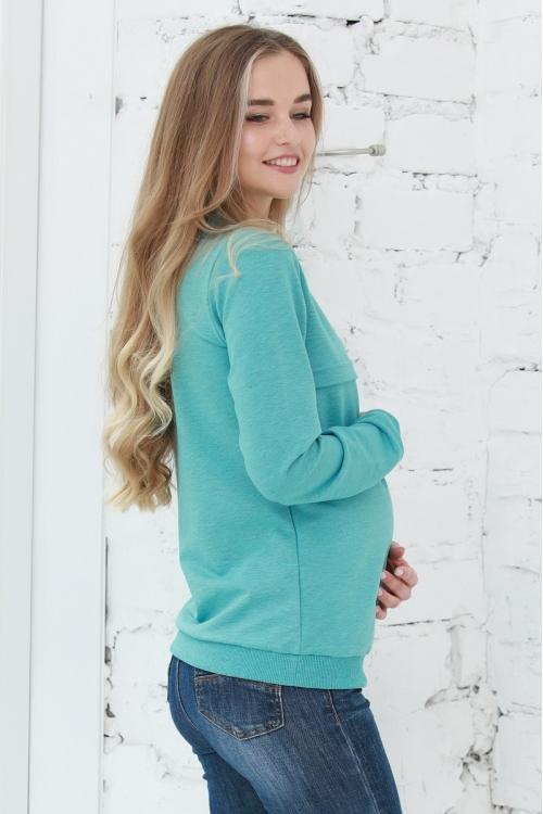 1-25505Е Свитшот из тёплого футера для беременных и кормящих зеленый