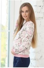 1-43505Е Джемпер женский для беременных и кормящих молочный/лиловый