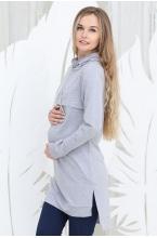 1-66505Е Туника (платье) для беременных и кормящих мам серый меланж