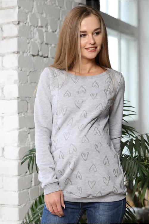 2-230505Е Джемпер женский для беременных и кормящих светло-серый/серебристый