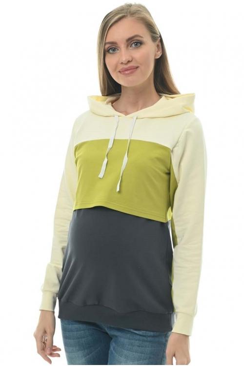 2-НМ 50314 Джемпер для беременных и кормящих мам кремовый/салатовый/антрацитовый