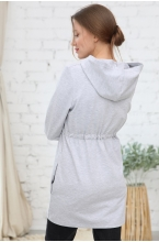 1-НМ 54914 Толстовка женская для беременных и кормящих серый меланж