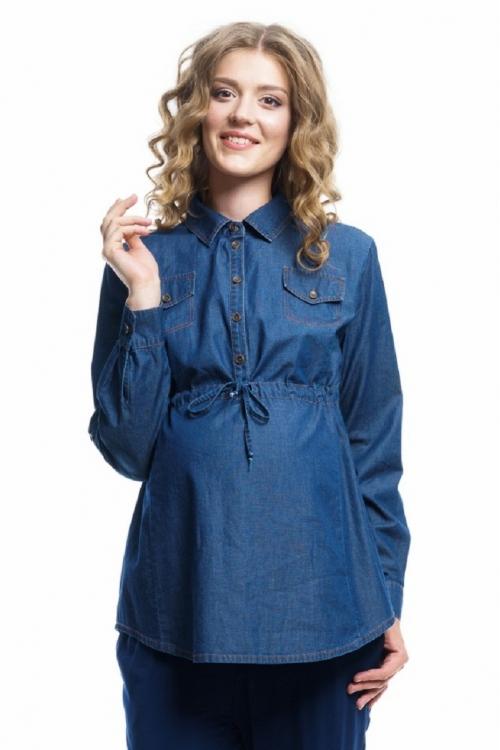 6001.1078 Блуза-туника джинсовая Х-образного силуэта