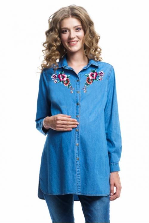 6002.1078 Блуза джинсовая прямого силуэта с вышивкой голубой