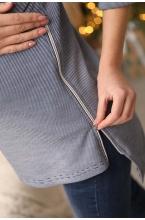 2-НМ 60114 Джемпер для беременных и кормящих мам синий/белый
