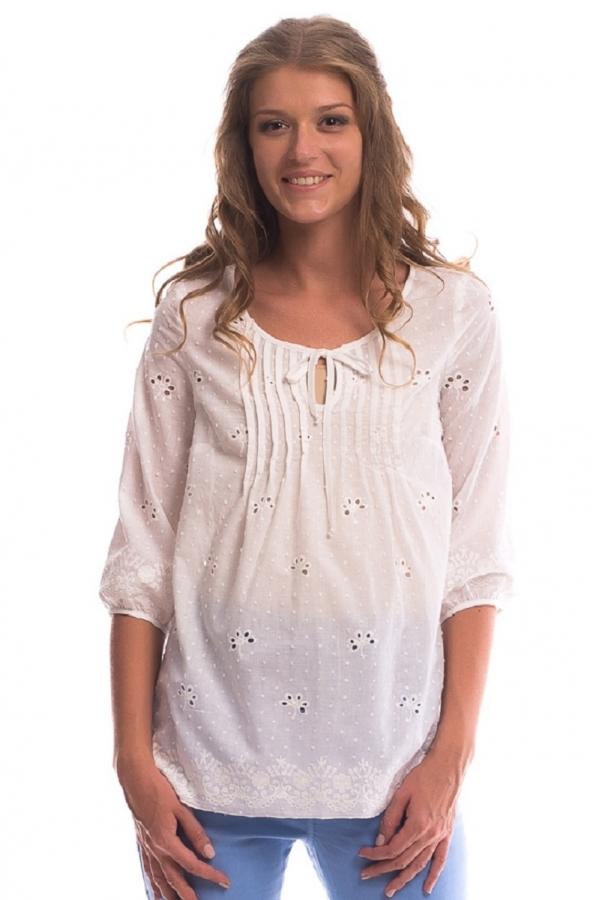 6186.4061 Блуза-А-образного силуэта с рукавом 3/4 белый с вышивкой