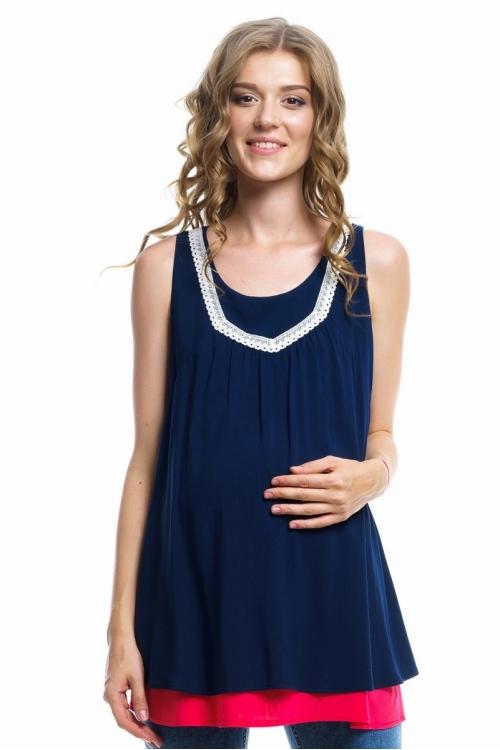 6195.088 Многослойная блуза А-силуэта с кружевом темно-синий/коралловый
