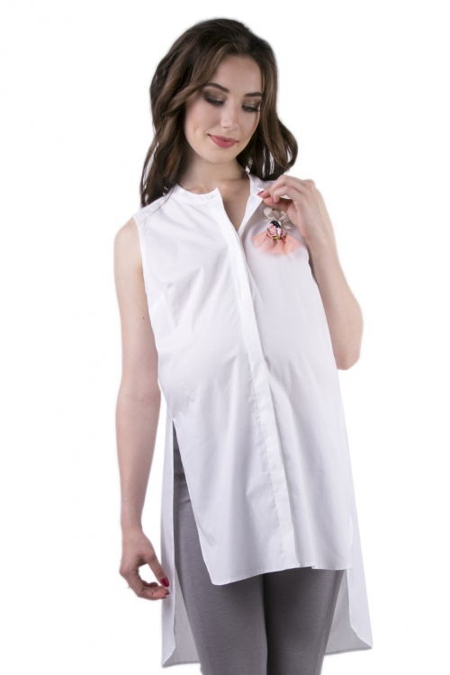 6248.2300  Блуза-туника прямого силуэта со съемной брошью молочный