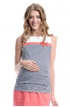 7255.3117 Блуза трикотажная прямого силуэта геометрия сине-белый, коралл, молочный